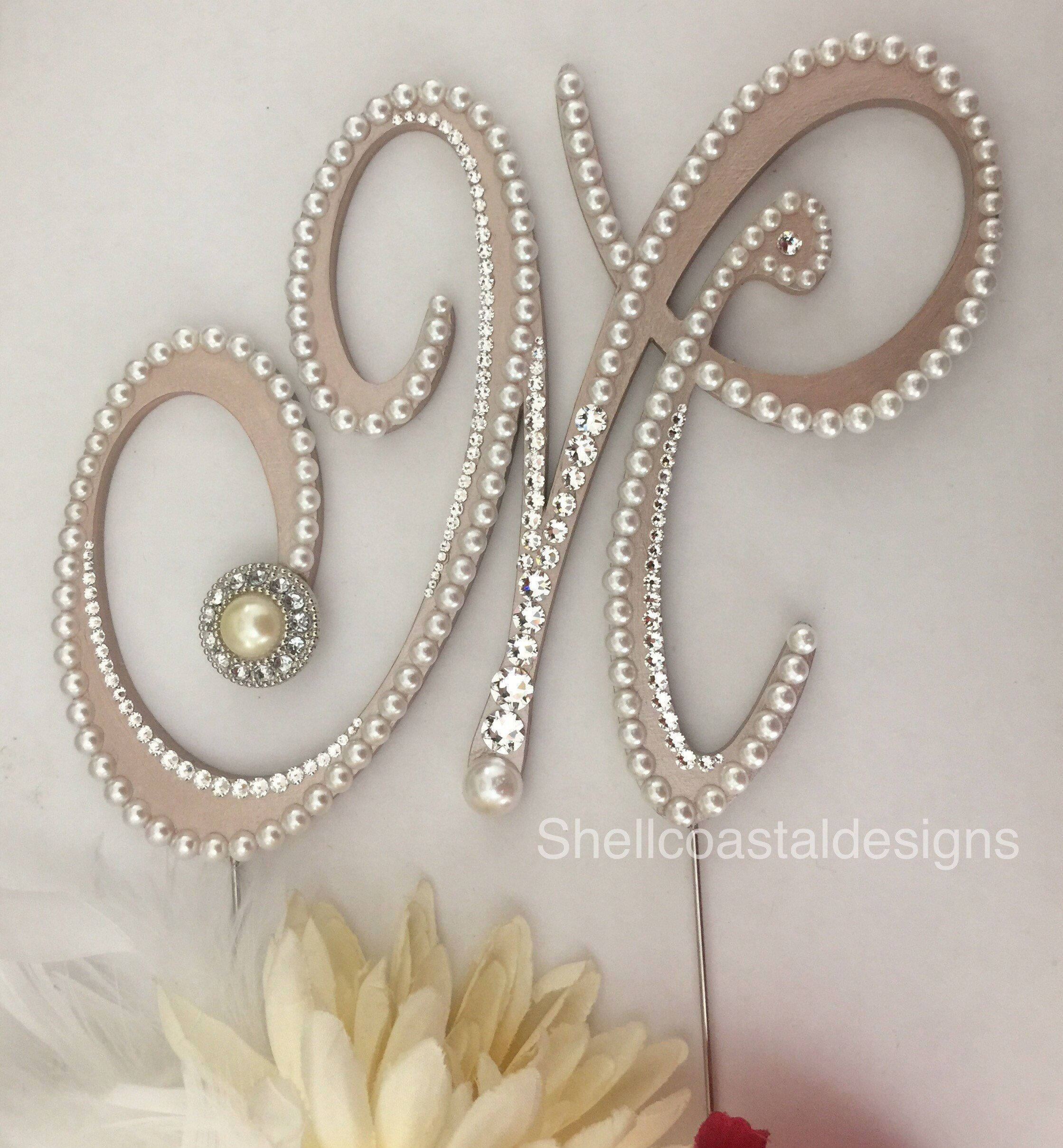 Pearl Cake Topper Monogram Wedding Cake Topper Swarovski