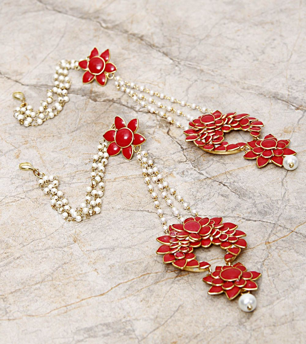 Coral Embellished Earrings-Indiatrend