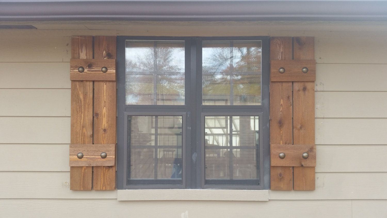 Stained cedar shutters, exterior shutters, Board and Batten shutters ...
