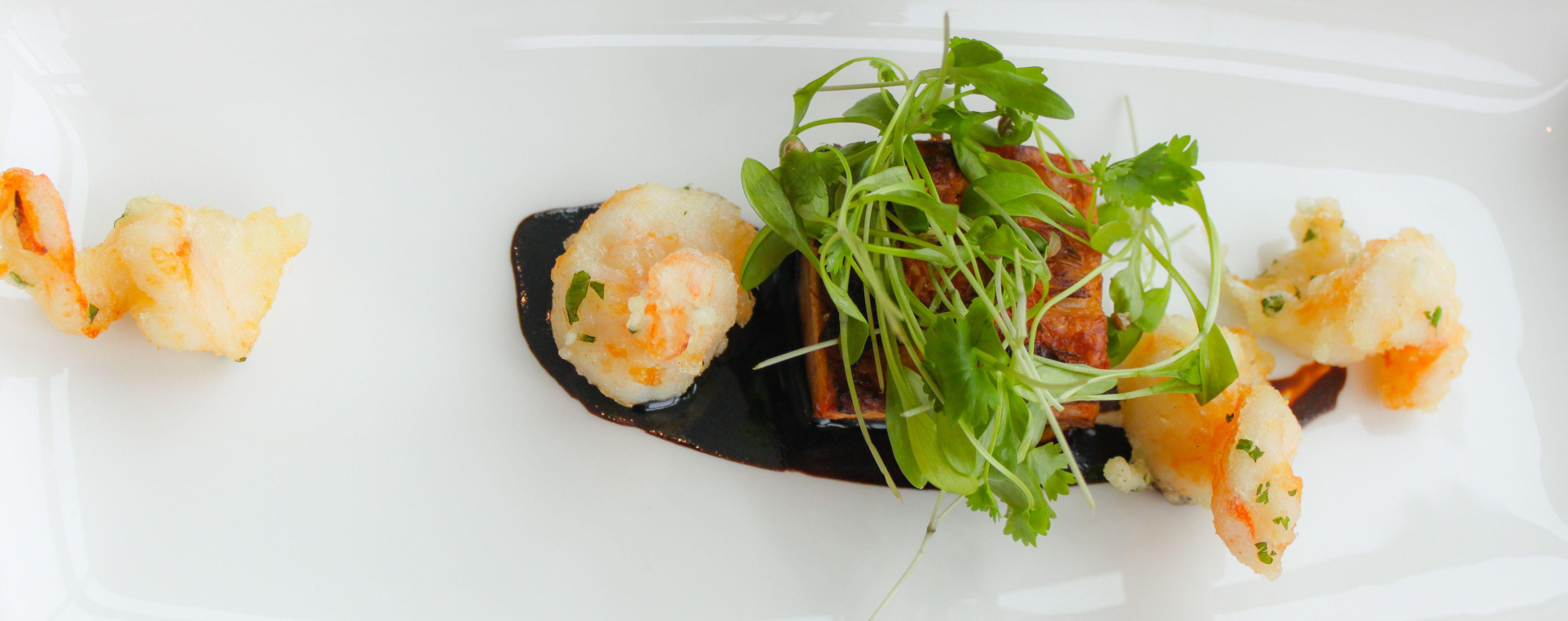 Tempura king prawns, spiced belly pork and sweet soy dressing ...