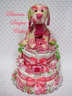 Diaper Puppy Baby Shower Centerpiece Diaper Cake