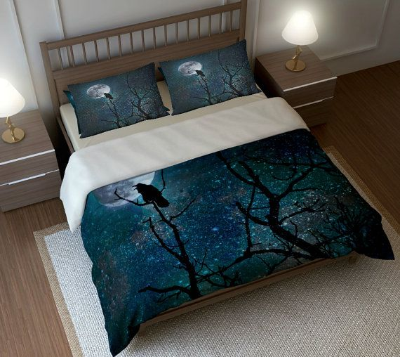 Night Raven Gothic Comforter Duvet Cover Pillow Shams With