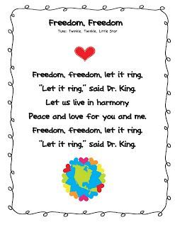 Martin Luther King Day Free Poem Music Education Pinterest