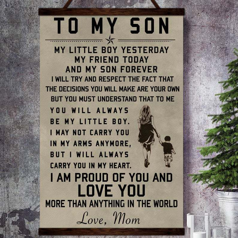 To My Son Poster Art From Mother Family Canvas Canvas Poster Family Wall Art