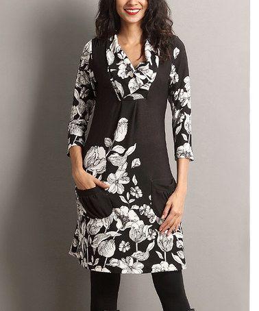 Another great find on #zulily! Black Floral Shawl-Collar Pocket Dress #zulilyfinds