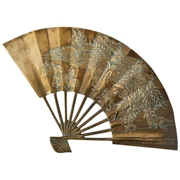 Asian Brass Fan ($89) ❤ liked on Polyvore featuring home, home decor, decor, sculptural wall objects, aqua home decor, brass home decor, asian home decor, brass home accessories and bird home decor