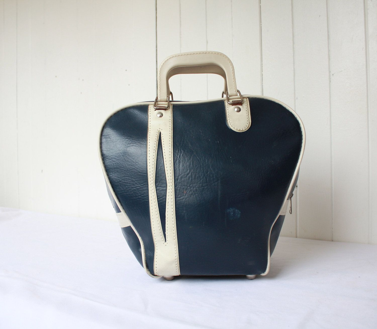 Vintage Bowling Bag Purse Retro Rockabilly 1950s Navy Blue