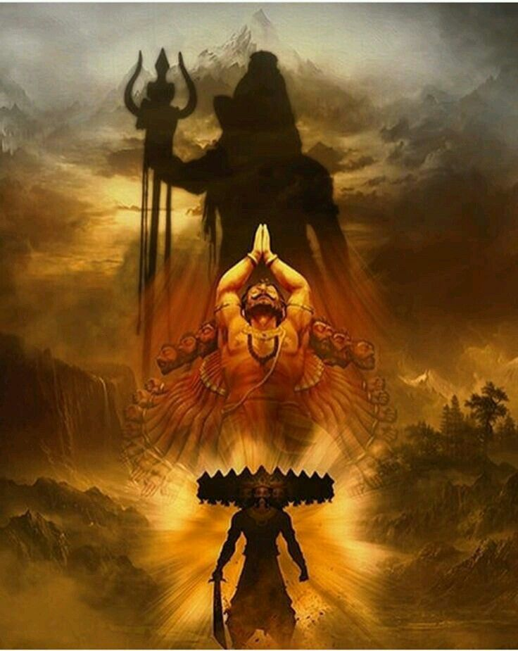 Har Har Mahadev Ten Headed Ravan The Most Intellectual And The Greatest Shiva Devotee Lord Shiva Painting Lord Shiva Lord Shiva Hd Wallpaper