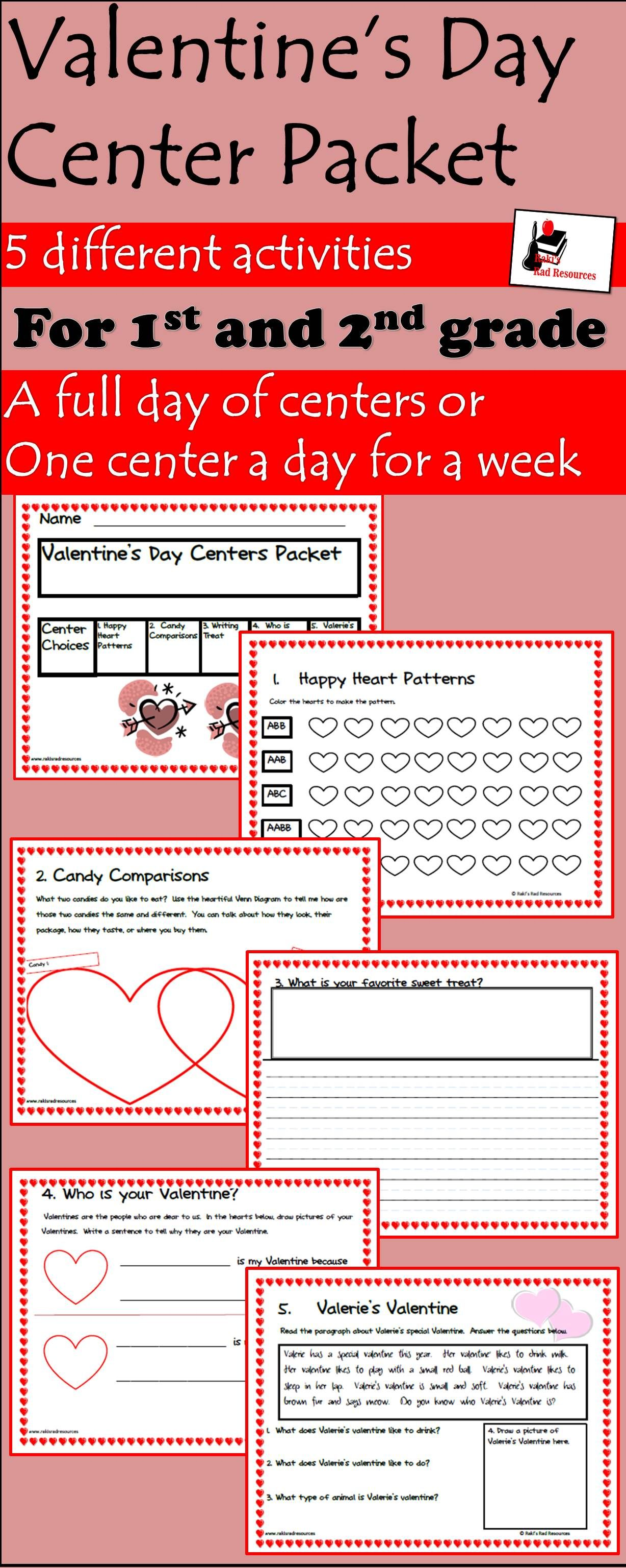 Valentine S Day Center Packet For First And Second Grade