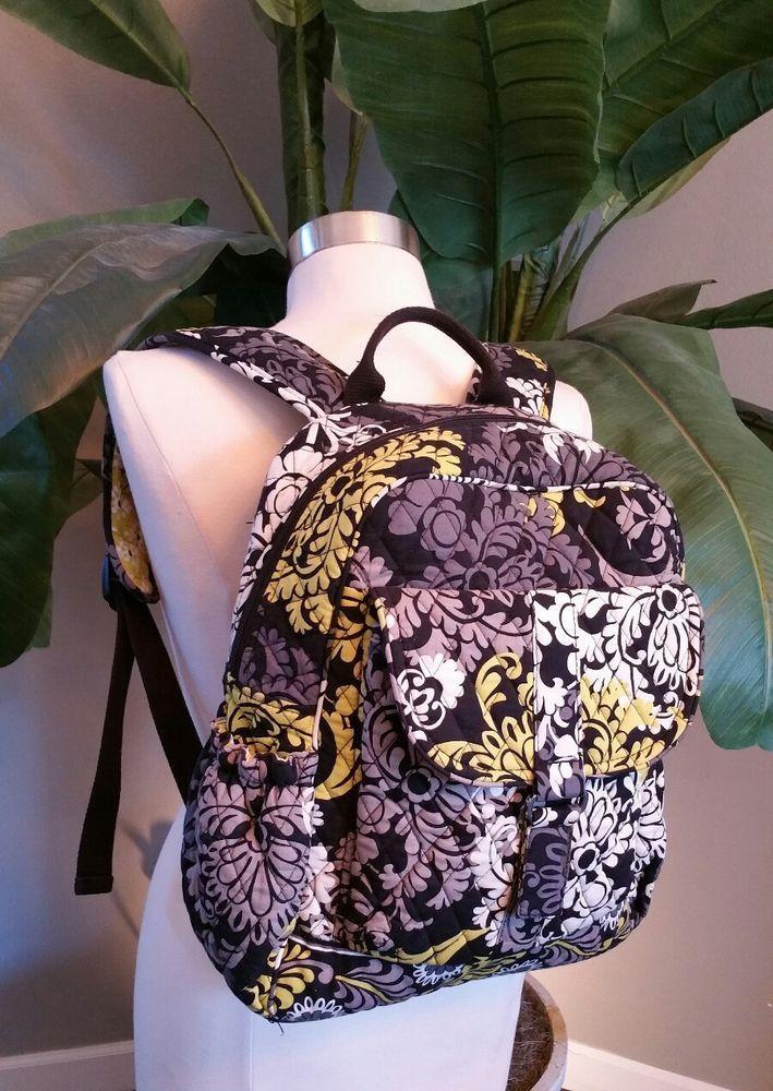 64ac52004a Vera Bradley Backpack Baroque Black Grey Yellow Bag Purse Tote  VeraBradley   Backpack