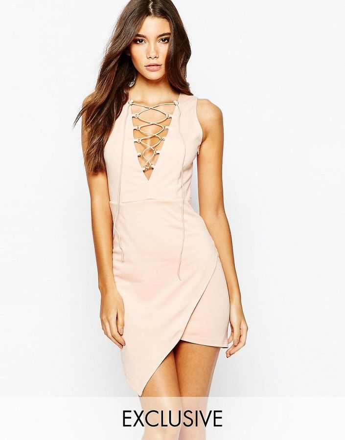 ed3d959974bc NaaNaa Lace Up Front Sleeveless Mini Dress With Wrap Skirt | Great ...