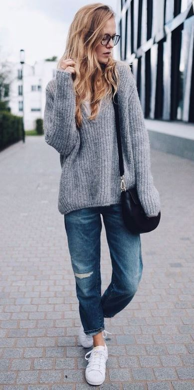 98496a46 what to wear with a sweater : boyfriend jeans + bag + sneakers | to ...