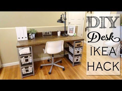 Ikea Hyllis Shelf Hack Two Units And Some Wood Transformed Into An Industrial Chic Work Desk Diy Desk Ikea Hack Ikea Diy