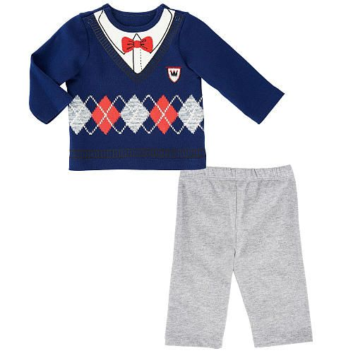 Little Me Boys 2 Piece Argyle Print Faux Pullover Long Sleeve Top and Pant Set