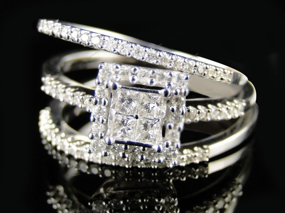 Womens White Gold Over Lab Diamond 3 Ring Engagement Wedding Band