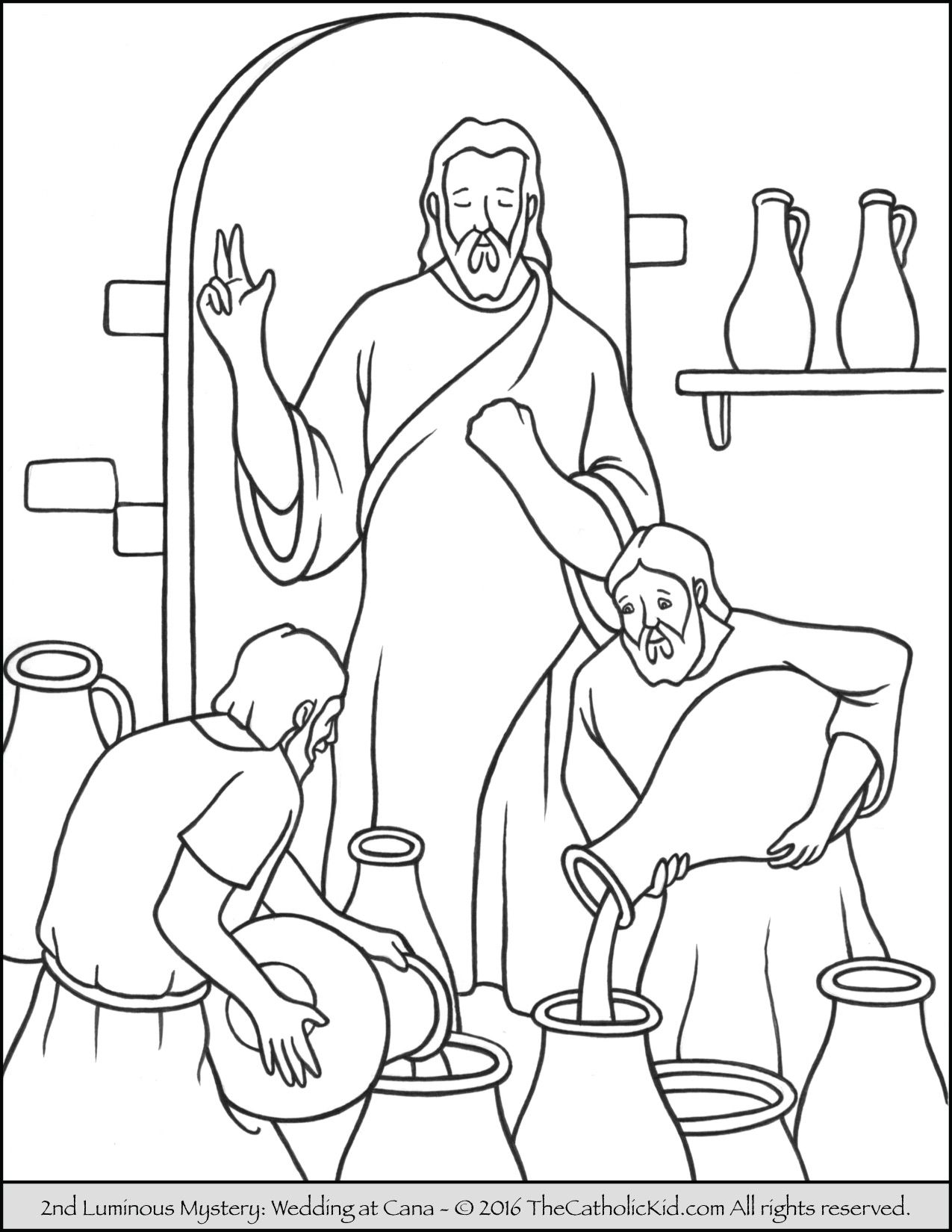 The 2nd Luminous Mystery Coloring Page – Wedding at Cana | Catholic ...