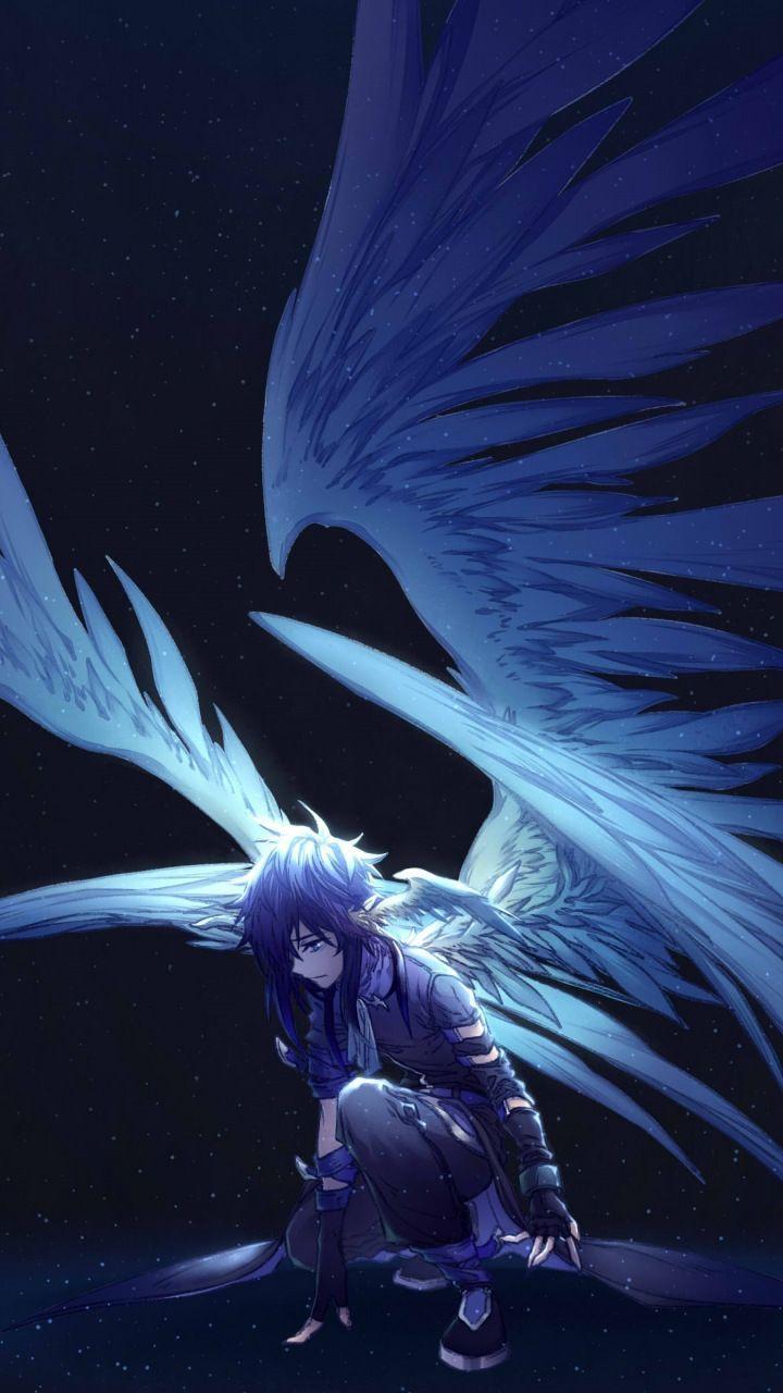Dark Big Wings Angel Fantasy Anime 720 1280 Wallpaper Dark Anime Anime Angel Girl Anime Angel