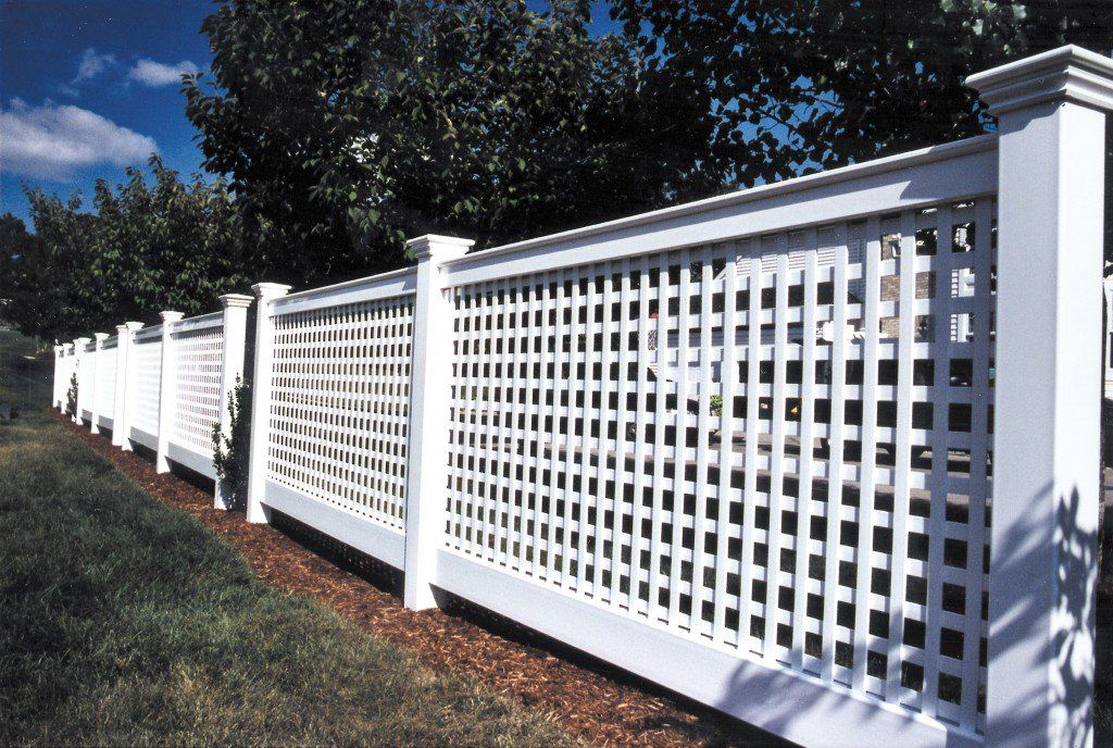 White Vinyl Lattice Fencing Chester Style By Atlas Outdoor Ct Lattice Fence Panels Lattice Fence Fence Design