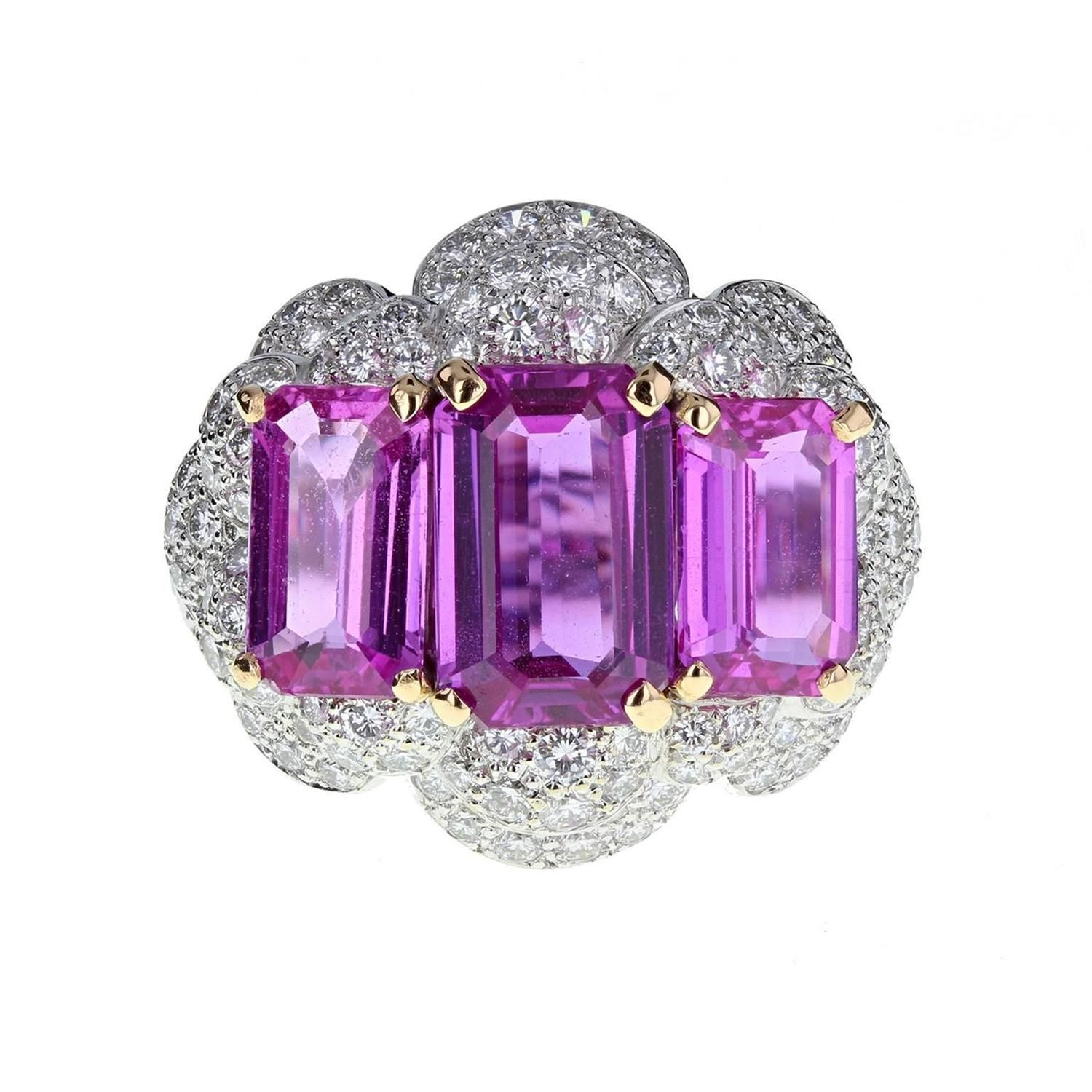 Exceptional Natural Pink Sapphire Diamond Gold Ring 1