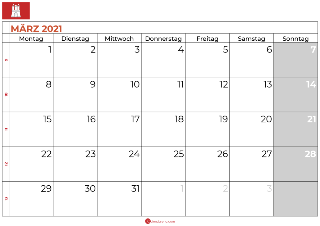 Kalender Marz 2021 Hamburg Kalender Kalender Feiertage Monatskalender