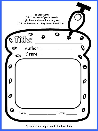 Sandwich Book Report Project templates printable worksheets and – Book Report Cover Page Template