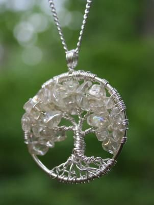 Crystal Chip Bead Tree of Life Hand Wire Wrapped Pendant