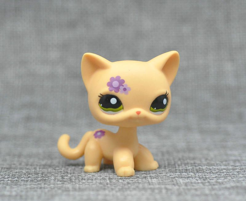 LPS CAT Custom-Made Baby with Old Pet Shop Toys Standing Short Hair Cat #1962 Yellow Purple Flower Kitten