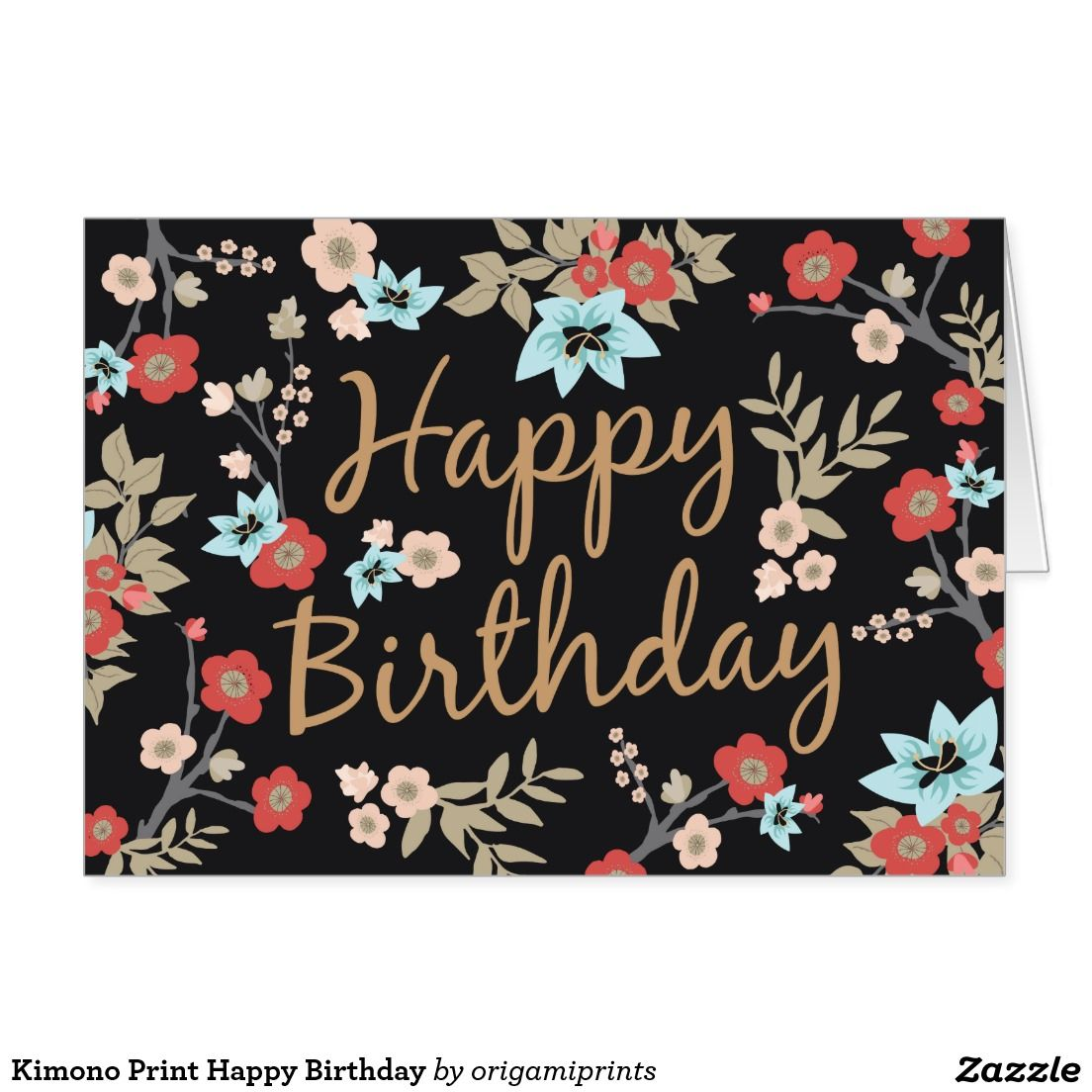 Kimono Print Happy Birthday Greeting Card