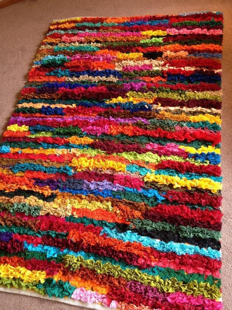 Shaggy Recycled Rag Rug Hand Loomed Indian Bright Multi Colours