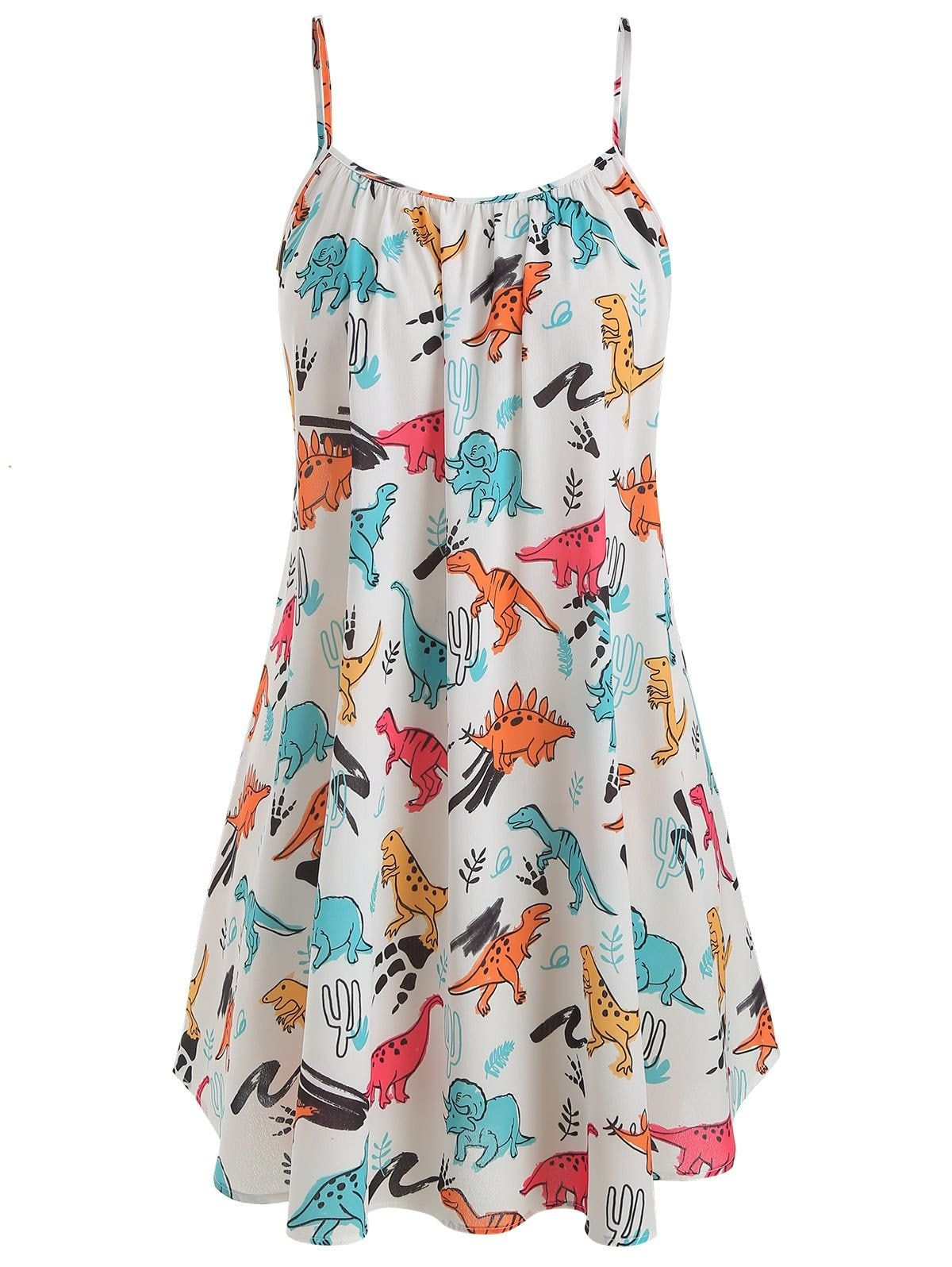 223258070a4139 Plus Size Dinosaur Print Ruffled Dress With Twist Top #Ad , #affiliate, #