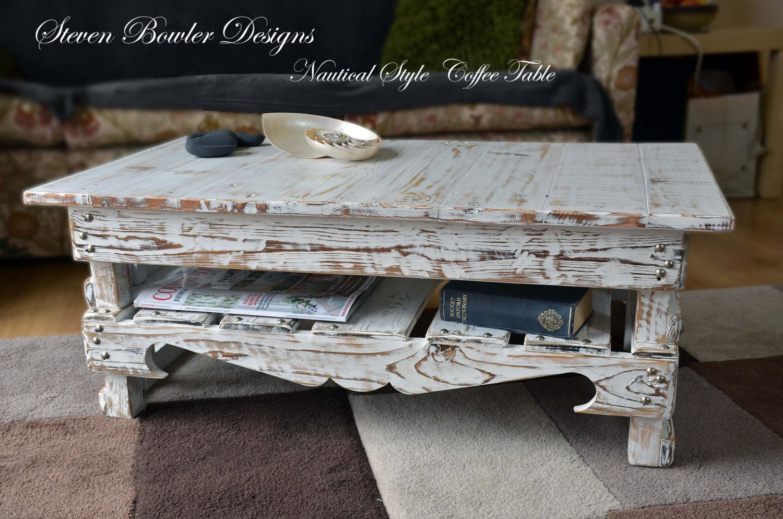 Bespoke White Coastal Cottage Reclaimed Wood Coffee Table