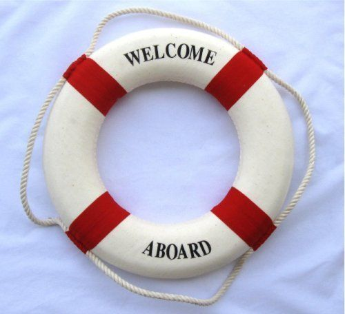 808bfcb228dc Nautical Welcome Aboard Cloth Life Ring Red 13.5