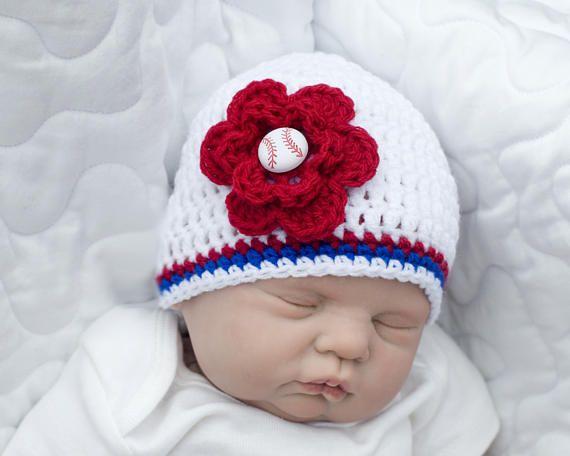 Baseball Baby Girl Crochet Baseball Red White Blue Baby Girl