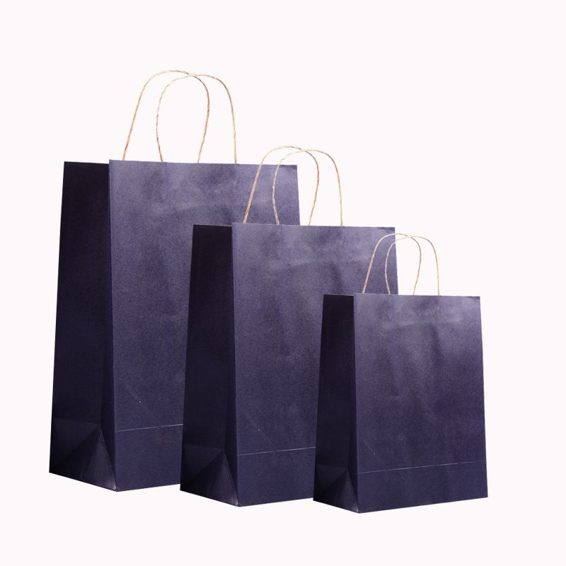 Wholesale 500pcs / lot kraft paper bag with handles shopping bags ...