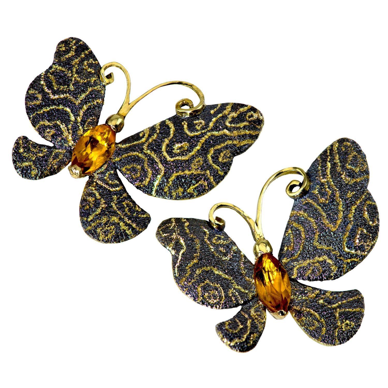 Alex Soldier Citrine Gold Butterfly Stud Earrings