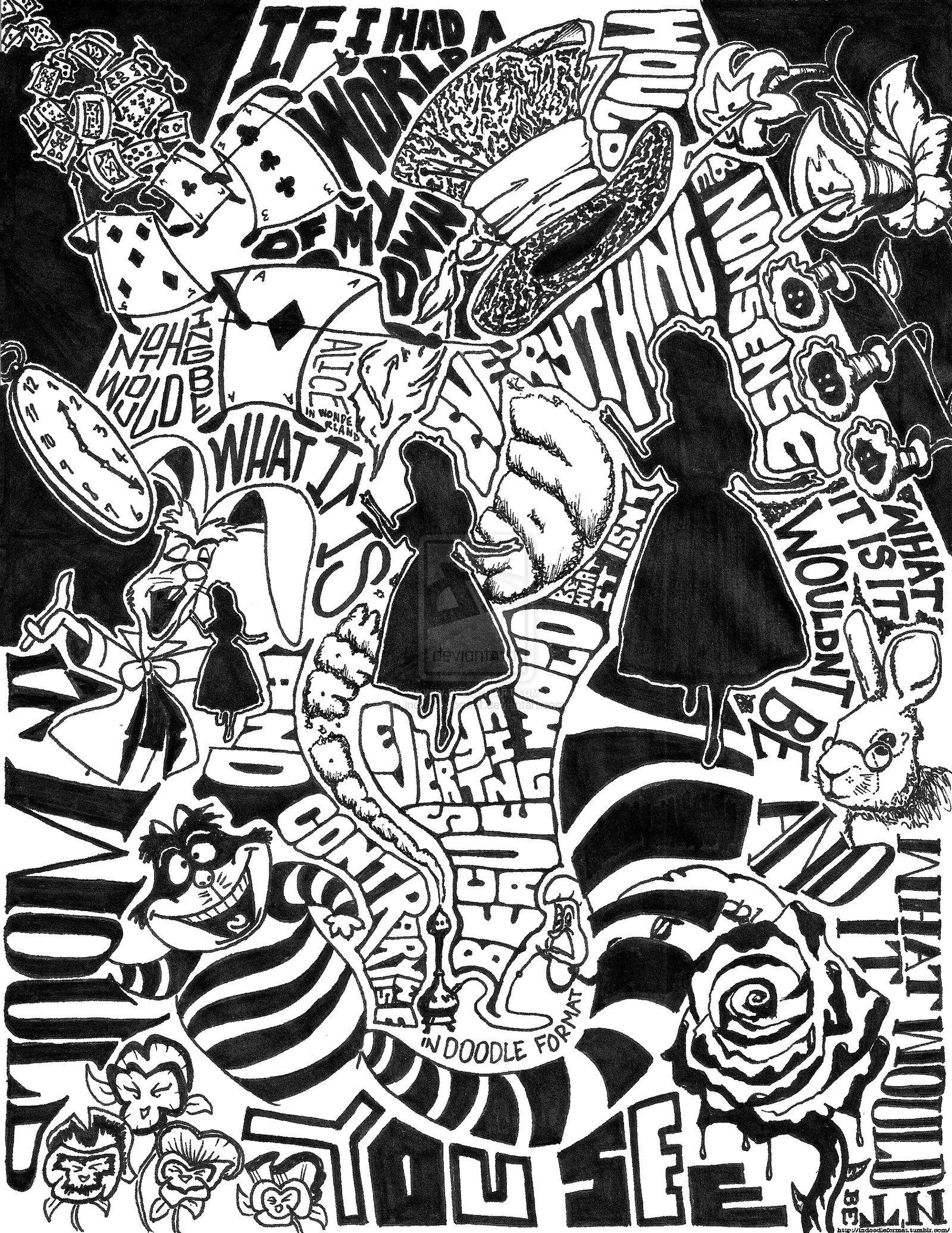 Alice In Wonderland In Doodle Format By Indoodleformat