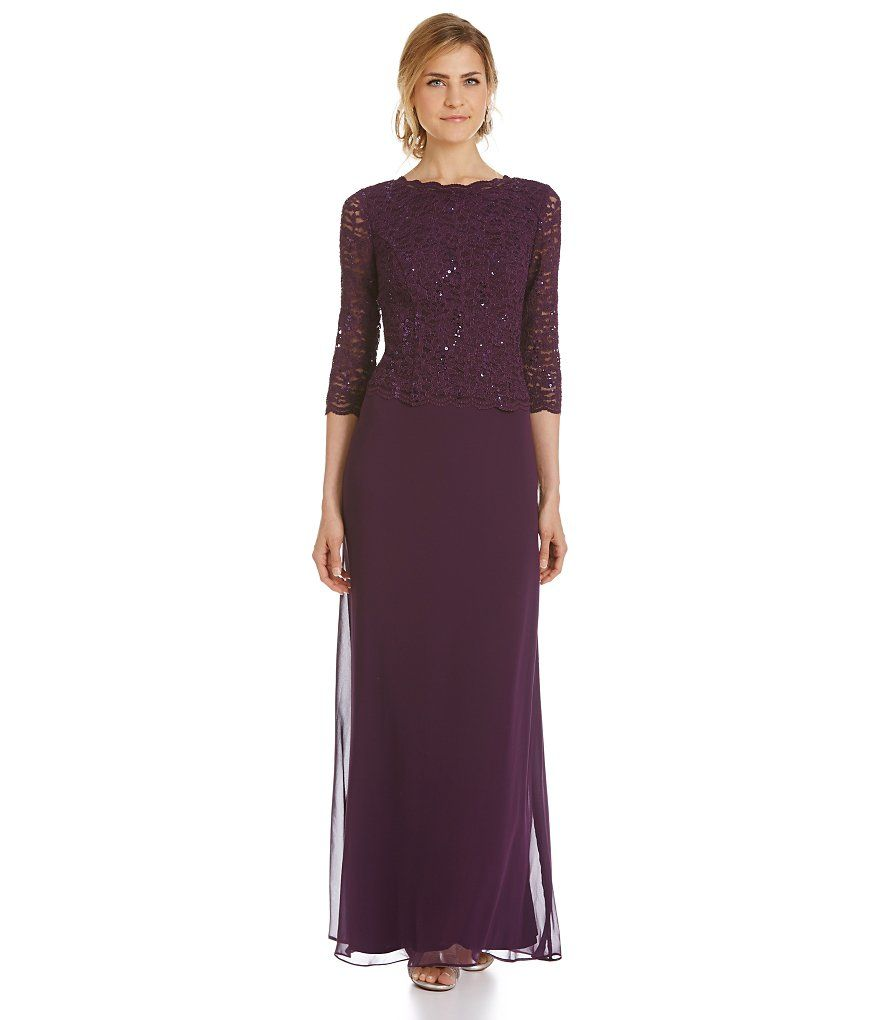 Deep plumalex evenings petite sequined lacebodice gown wedding