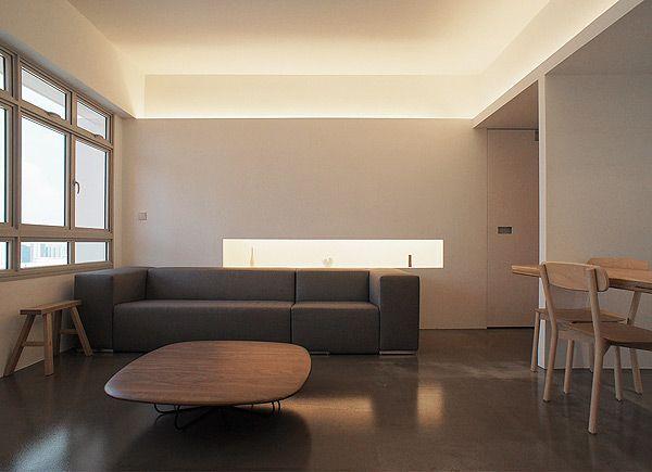 Display Shelf Behind Sofa In Living Room Minimalist