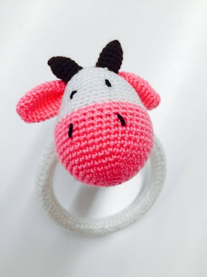 Crocheted baby rattle crochet cow baby rattle rattle