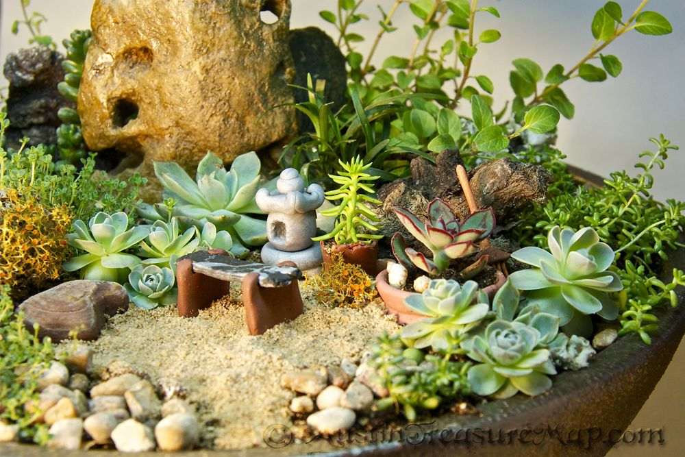 MiNiATuRe ZeN GarDeN   Bench, Pagoda Lantern, Pots U0026 Rake Are Made From  Polymer Clay. The Rock Was Found Laying Around U0026 Stained With Wood Stain  Then ...
