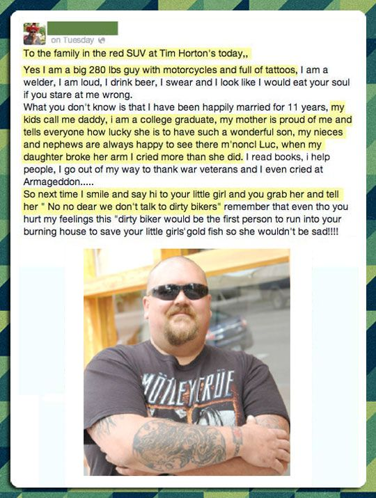 I think we can all learn from this. No one deserves to be treated a certain way because of their lifestyle.