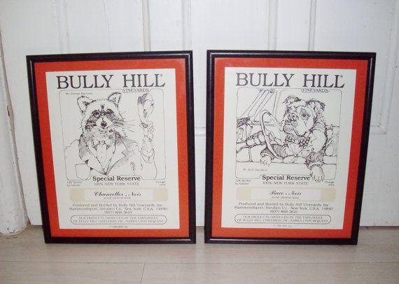 Vintage Framed Artwork Mr.George Raccoon Mr. Baco Bulldog Bully Hill Vineyards Walter S. 1980's