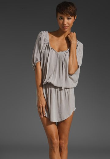 LA Made Rayon Voile Elbow Sleeve Open Neck Dress in Solid