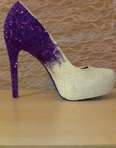 62407830e637 Sparkly White Purple ombre Glitter high   Low Heels wedding bride Peep toe  or Pumps shoes - Glitter Shoe Co