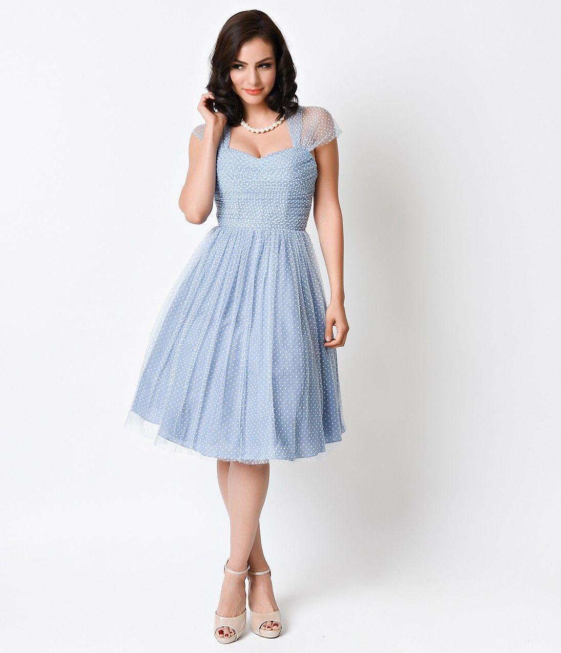 The dress is blue or white - Slate Blue White Swiss Dot Garden State Mesh Dress
