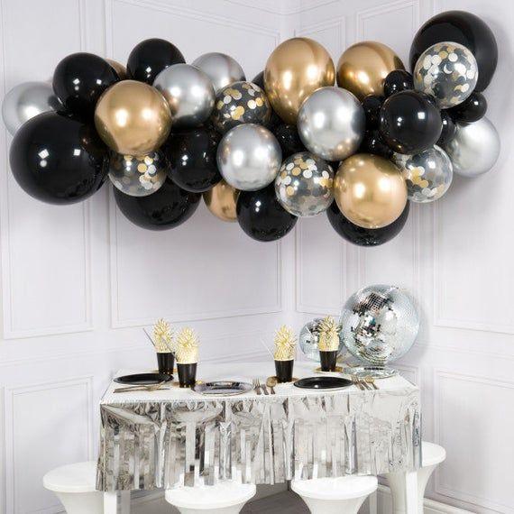New Years Balloon Garland DIY Kit Modern Metallic Theme