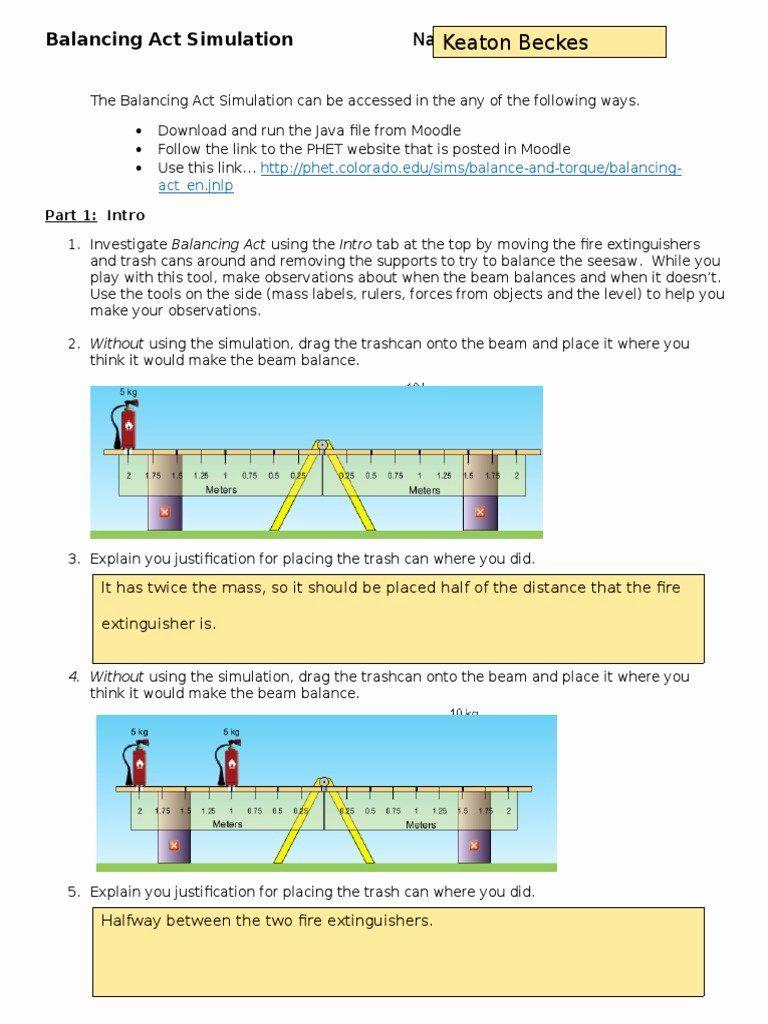 Balancing Act Practice Worksheet Answer Key + My PDF ...