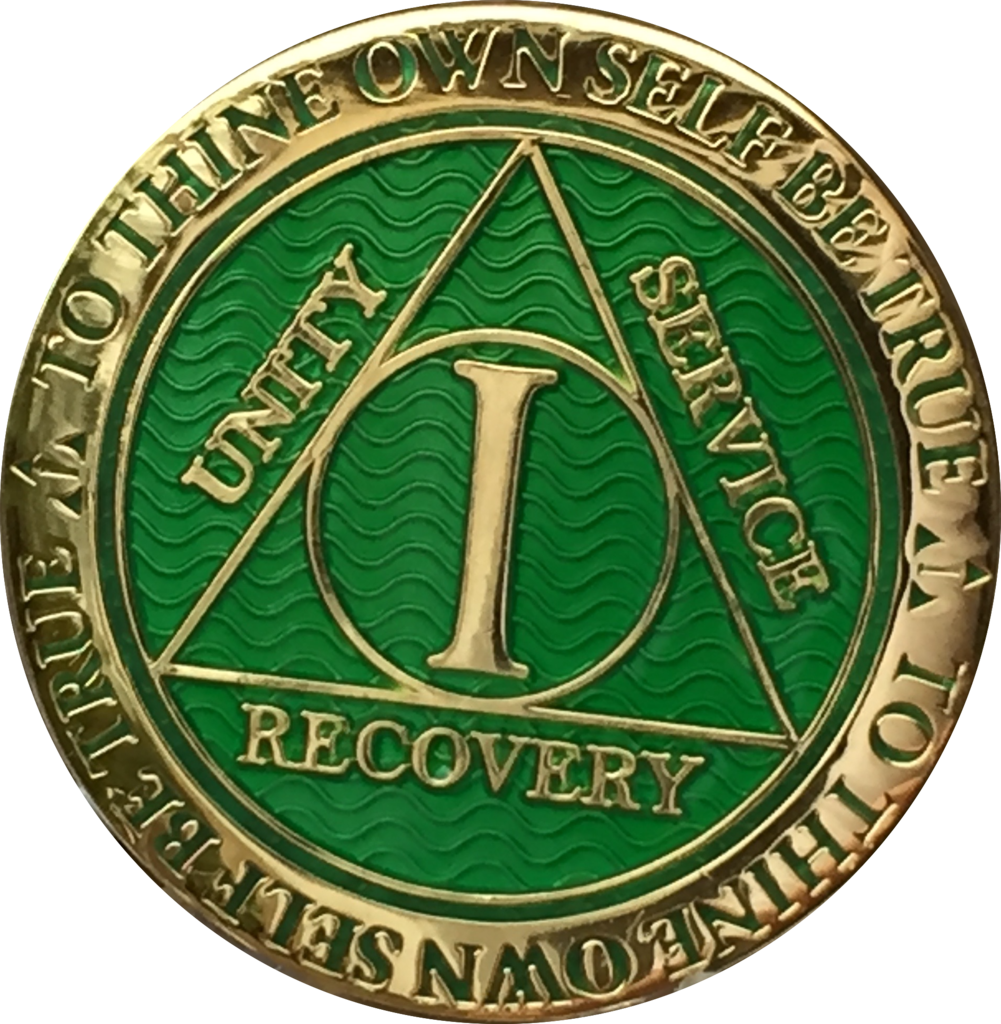 8 Year AA Medallion Green Gold Plated Alcoholics Anonymous Sobriety Chip Coin