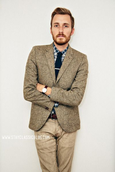brown herringbone blazer w/blue/white plaid shirt | ♂ M Å N|S T Ī ...