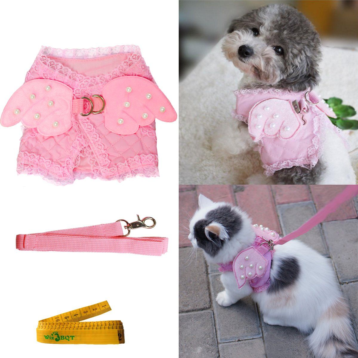 Pink Cute Adorable Pet Cat Dog Harness And Leash Set With Lace